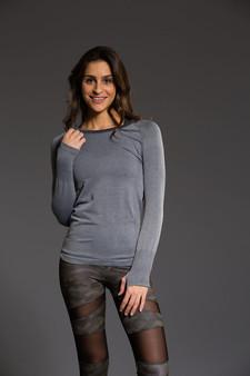 Seamless Stonewash Longsleeve Top - Slate Gray