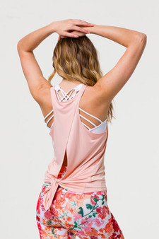 Tie Back Tank Top - Light Peach