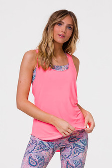 Glossy Flow Tank Top -  Neon Coral