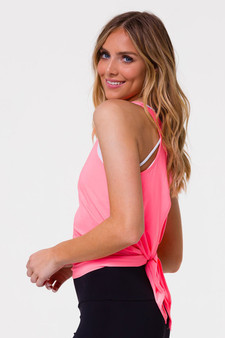 Tie Back Tank Top - Neon Coral