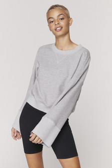 Malia Wide Sleeve Sweatshirt - Heather Grey