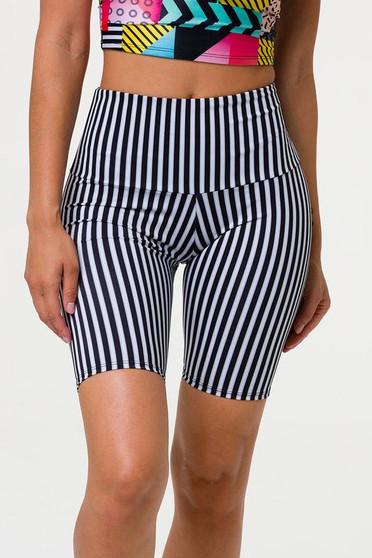 High Rise Biker Shorts - Black White Stripes (Limited Edition)