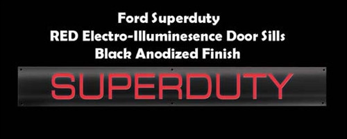 Recon Red LED Black Anodized Finish Superduty Lighted Door Sill, 1998-2013 Ford Superduty