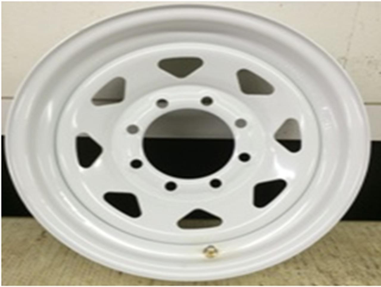16 Rim 16x6 8Bolt 8x6.5 White 5in Center Spoke Trailer Wheel