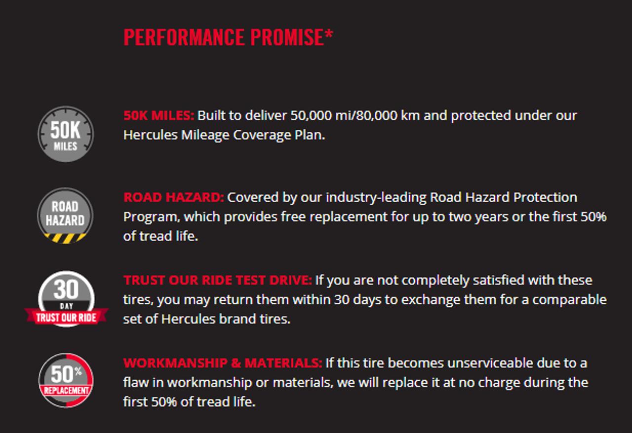 New Tire 225 60 16 Hercules Roadtour 455 P225/60R16 50,000 Miles