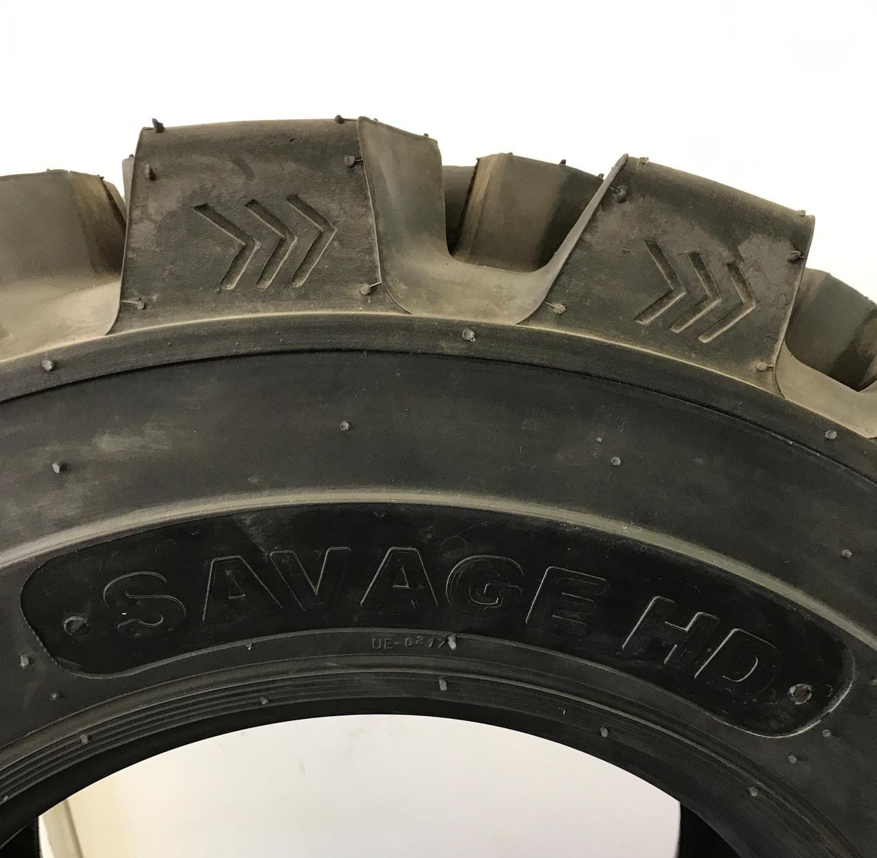New Foam Filled Tire Mounted on Black Rim 12 16.5 Savage Premium Skid Steer 12 Ply DeepTread 50/32 12x16.5 PPT