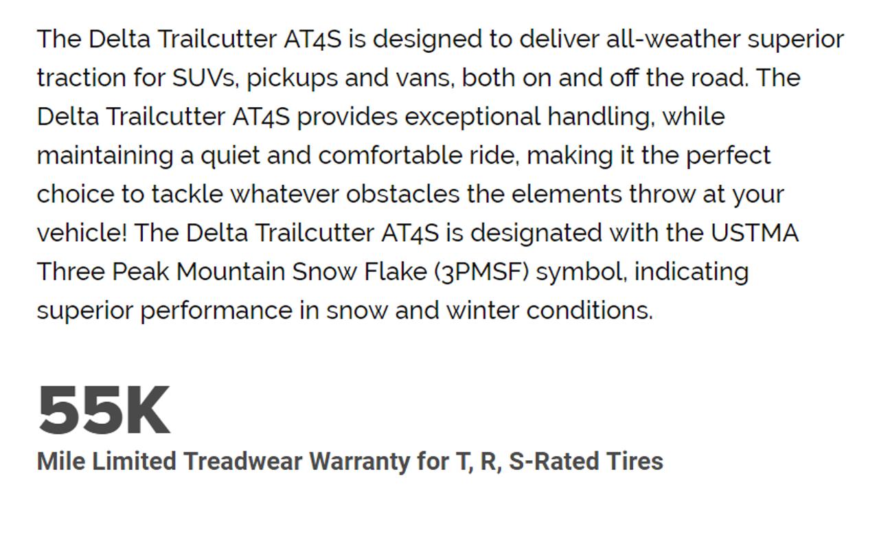 235 75 15 Delta Trailcutter AT 4S 109T New Tire 55,000 Miles P235/75R15