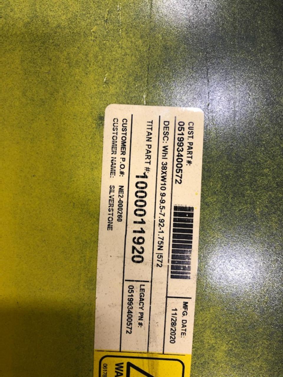 """New 38"""" 10x38 T&L Yellow Irrigation  Rim Wheel 38x10 9-9.5-7.92-1.75n"""