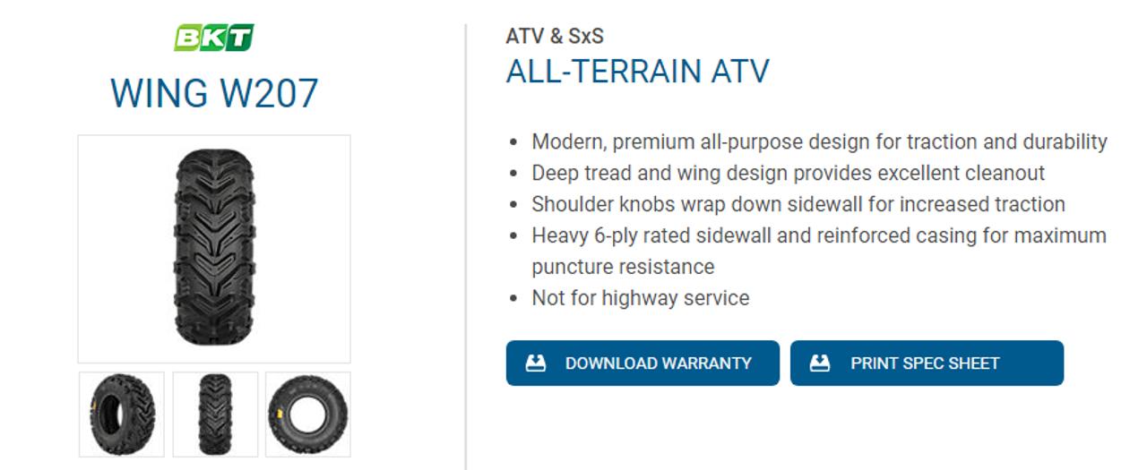 New Tire 25 12.00 9 BKT W207 6 ply ATV 25x12.00-9 25x12-9