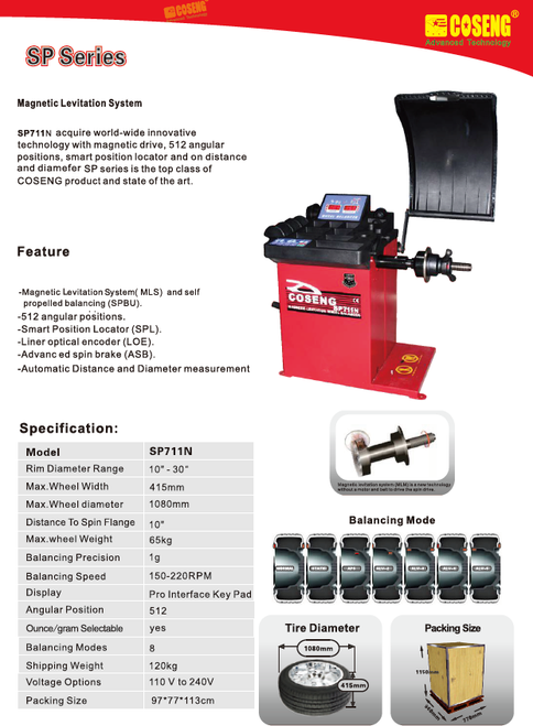 "New Coseng SP711N Tire Wheel Balancer 10-30"" Rim Keypad 8 Modes"