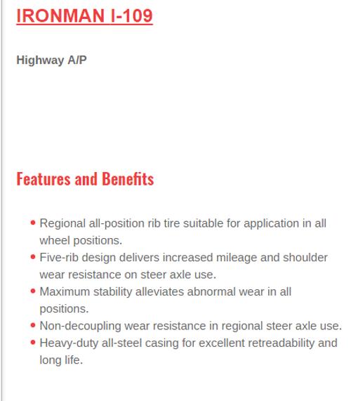 New Tire 11 R 22.5 Ironman 109 AP Steer Rib 16 Ply Semi Truck 11R 11R22.5 ATD