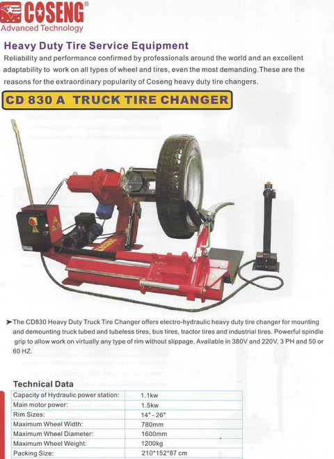 "New Tire Changer Machine Coseng CD830A  14-27"" Truck Farm Ag Commercial Industrial Grade"