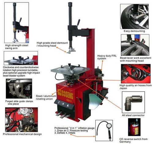"""New Tire Changer Machine Coseng 211 G CIT w/ Assist Arm 10-26"""" Commercial Use"""