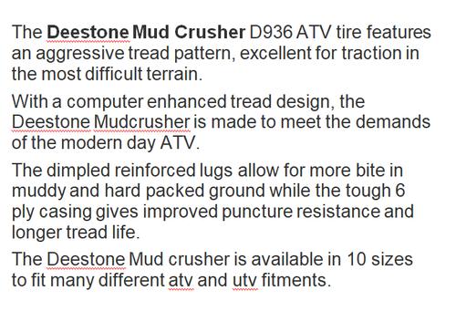 New Tire 22 8.00 10 Deestone Mud Crusher 6 ply ATV 22x8-10 22x8.00-10