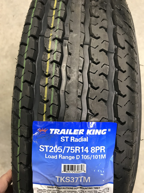 New Tire 205 75 14 Trailer King RST 8 Ply ST205/75R14 Trailer