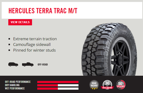New Tire 265 70 17 Hercules Terra Trac MT Mud OWL 10 ply LT265/70R17