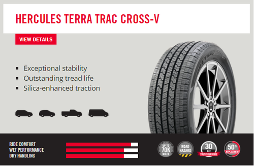 New Tire 275 55 20 Hercules Cross V Suv All Season P275/55R20 70,000 Miles