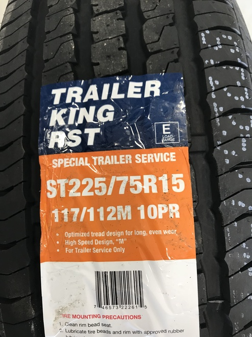 New Tire 225 75 15 Trailer King RST 10 Ply ST225/75R15 Trailer