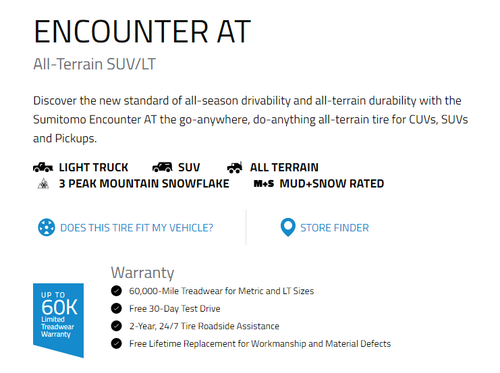 285 75 16 Sumitomo Encounter AT 10 Ply New Tire 60,000 Miles LT285/75R16