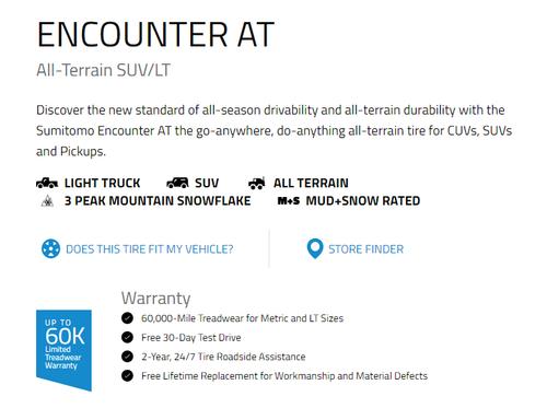 245 75 17 Sumitomo Encounter AT 10 Ply New Tire 60,000 Miles LT245/75R17