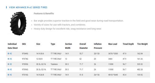 New Tire 30.5 L 32 Advance Combine R1 C  16ply Tubeless 30.5L-32 30.5Lx32