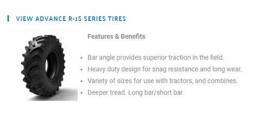 New Tire 13.6 38 Advance Tractor Rear R1 S 8ply TT 13.6x38