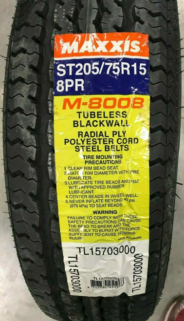 New Tire 205 75 15 Maxxis Trailer Radial 8 ply M8008 ST205/75R15