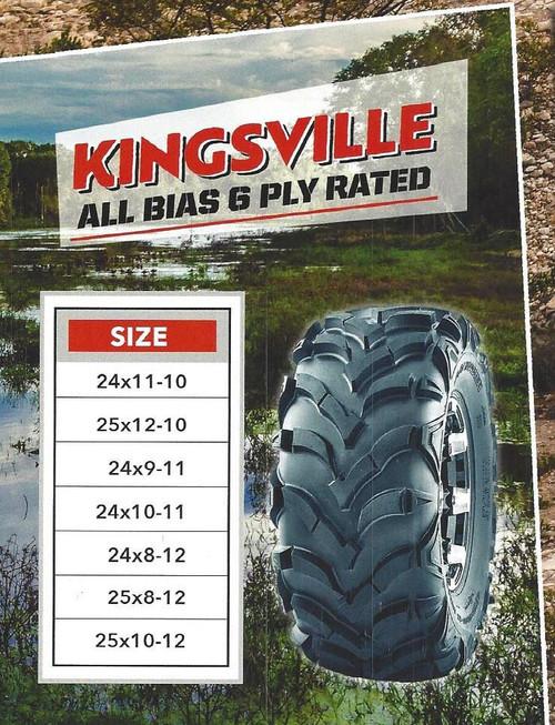 New Tire 25 8.00 12 K9 Kingsville 6 Ply ATV 25x8-12 DOB
