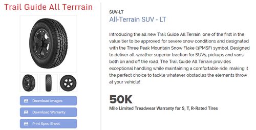 New Tire 275 65 20 Trail Guide AT All Terrain 10 Ply BSW LT275/65R20