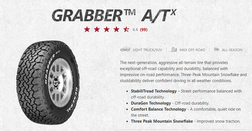 New Tire 265 70 18 General Grabber ATX RWL 10ply LT265/70R18 124S 50,000mile All Terrain