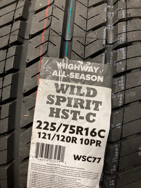 New Tire 225 75 16 Commercial 10 ply Wild Spirit HST-C Van LT225/75R16C 10ply 121R