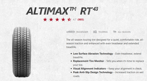 New Tire 225 45 17XL General Altimax RT43 225/45R17XL