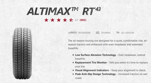 New Tire 225 50 17XL General Altimax RT43 225/50R17XL