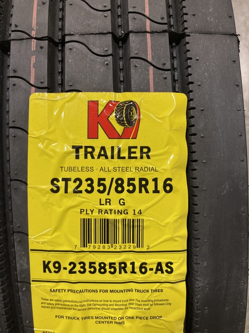 New Tire 235 85 16 K9 Trailer 14 Ply All Steel ST235/85R16
