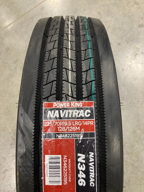 New Tire 225 70 19.5 Power King Navitrac N346 Steer 14 Ply 225/70R19.5