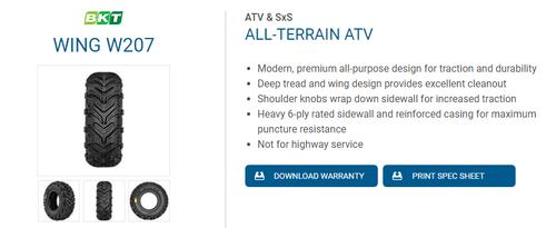 New Tire 22 7.00 10 BKT W207 6 ply ATV 22x7.00-10