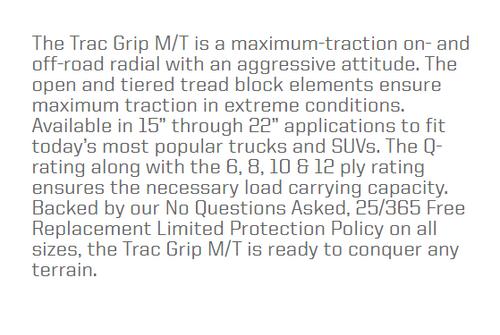 New Tire 265 75 16 Thunderer Trac Grip MT Mud 10 Ply LT265/75R16