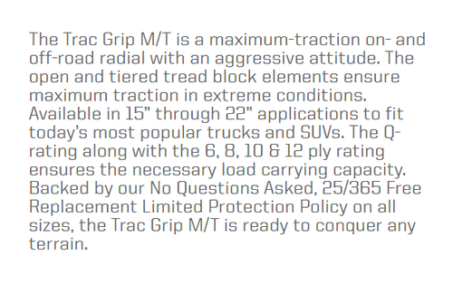 New Tire 235 85 16 Thunderer Trac Grip MT Mud 10 Ply LT235/85R16