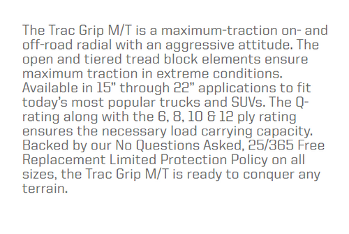 New Tire 31 10.50 15 Thunderer Trac Grip MT Mud 6 Ply LT31x10.50-15
