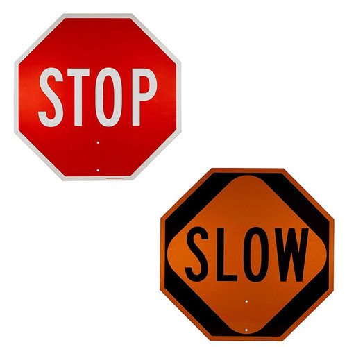 """Forester 18"""" Aluminum Hand Held Stop/Slow Sign - 3M Reflective"""