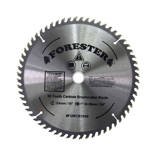 """Forester 60 Tooth Carbide Tip Brush Cutter Blade - 10"""" x 1"""" or 20mm Arbor"""