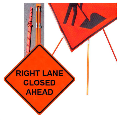 """Forester 48"""" Vinyl Professional Grade Work Sign - Right Lane Closed"""