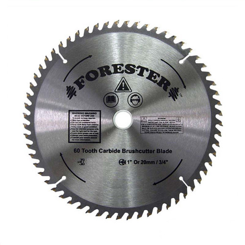 """Forester 60 Tooth Carbide Tip Brush Cutter Blade - 9"""" x 1"""" / 20mm Arbor"""