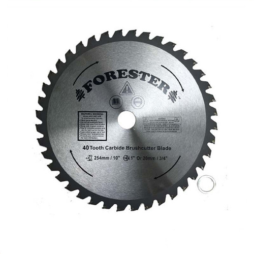 """Forester 40 Tooth Carbide Tip Brush Cutter Blade - 10"""" x 1"""" / 20mm Arbor"""