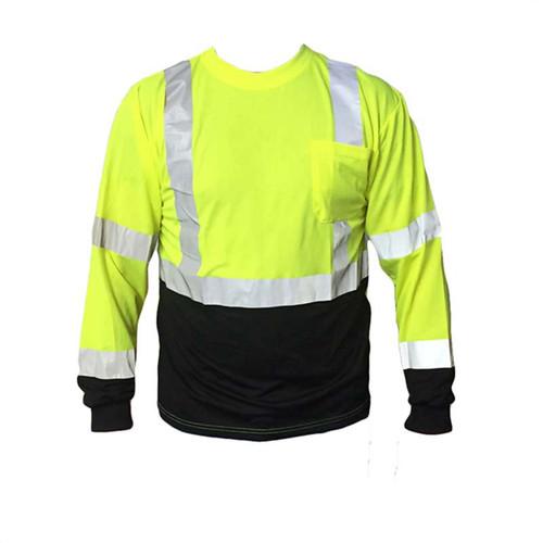 Forester Hi-Vis Black Bottom Class 2 Reflective Safety Long Sleeve Shirt - Safety Green