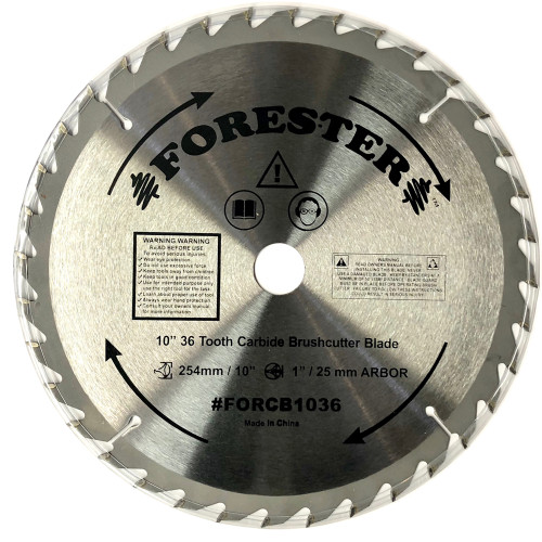 """Forester 36 Tooth Carbide Tip Brush Cutter Blade - 10"""" x 1"""" / 20mm Arbor"""
