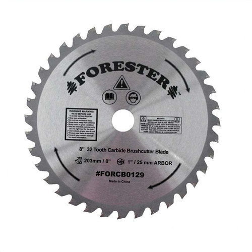 """Forester 32 Tooth Carbide Tip Brush Cutter Blade - 8"""" x 1"""" / 20mm Arbor"""