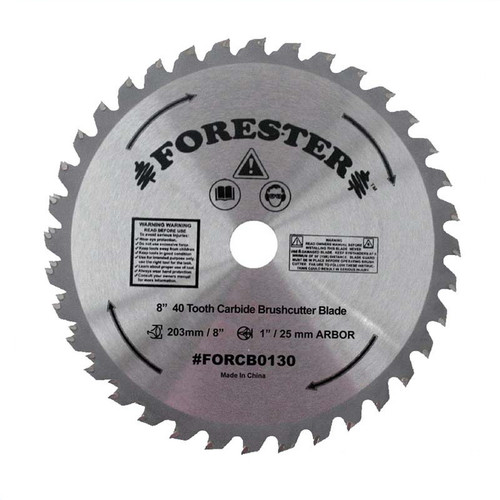 """Forester 40 Tooth Carbide Tip Brush Cutter Blade - 8"""" x 1"""" / 20mm Arbor"""