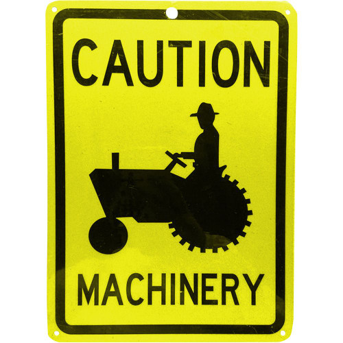 """Forester 7"""" x 10"""" Reflective Aluminum Sign - Caution Machinery"""