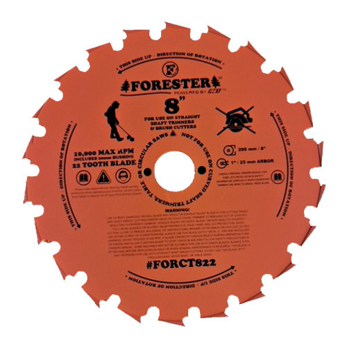 """Forester 22 Tooth Chisel Tooth Brush Cutter Blade - 8"""" Diameter x 1"""" or 20mm Arbor"""